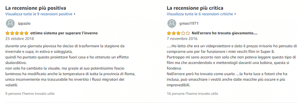 Recensioni false amazon